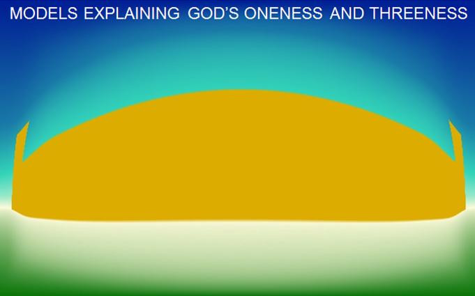 When the observer looks through a convex lens (theories of the Trinity), he can see both towers (God's threeness and God's oneness) at the same time, but now the image is distorted: the towers are no longer straight up and down, and the wall appears to be curved (Any model of God's Trinity inevitably inadequately portrays God's threeness, God's oneness, and God's nature as a whole).